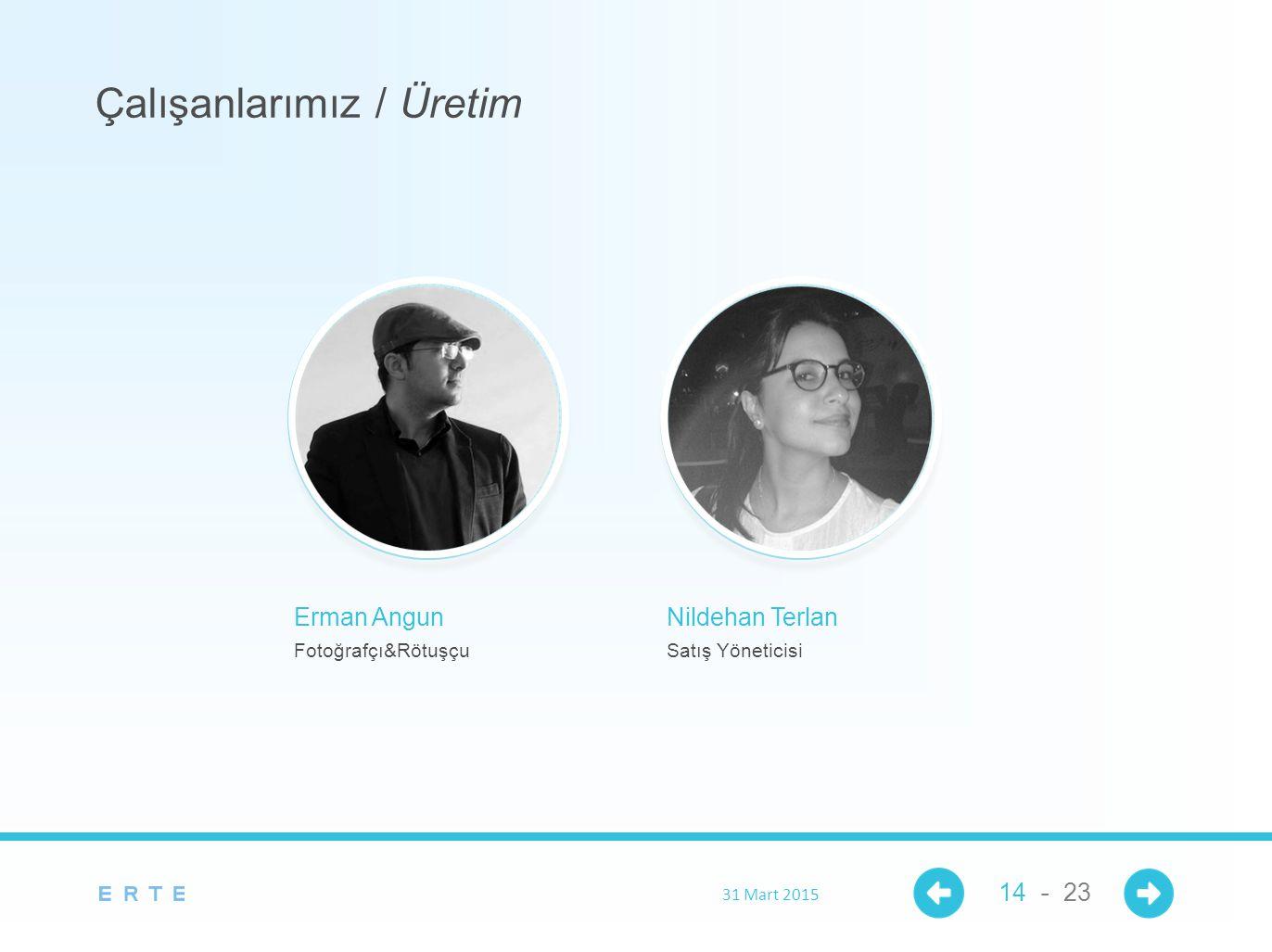 Erman Angun Fotoğrafçı&Rötuşçu Çalışanlarımız / Üretim 31 Mart 2015 14 - 23 Nildehan Terlan Satış Yöneticisi