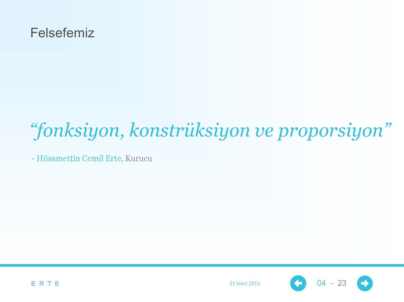 """Felsefemiz """"fonksiyon, konstrüksiyon ve proporsiyon"""" - Hüsamettin Cemil Erte, Kurucu 31 Mart 2015 04 - 23"""