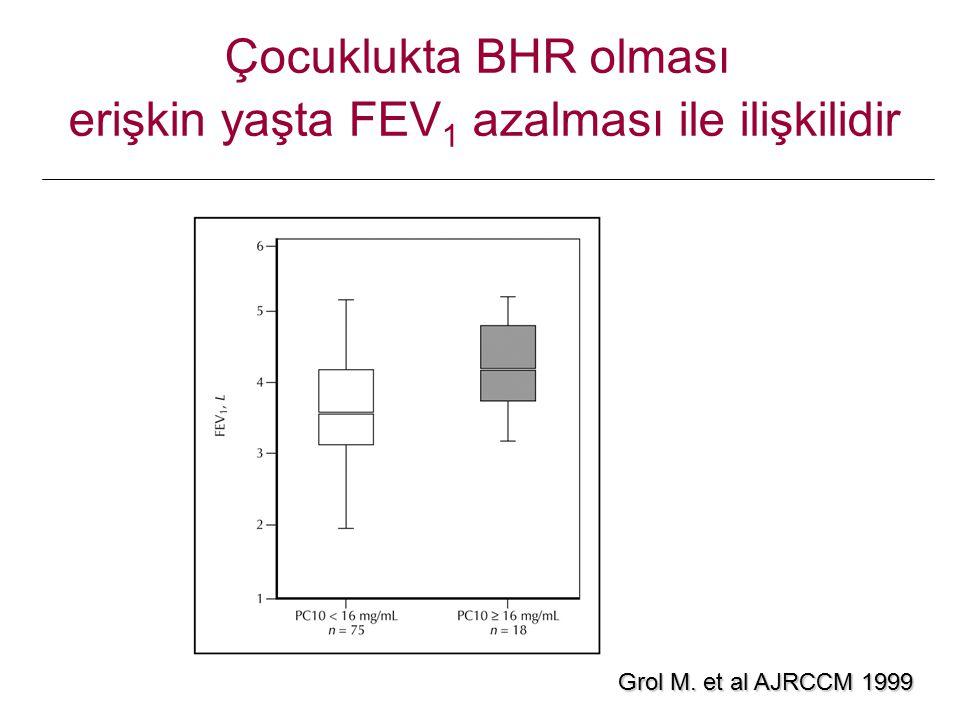 Grol M. et al AJRCCM 1999 Çocuklukta BHR olması erişkin yaşta FEV 1 azalması ile ilişkilidir