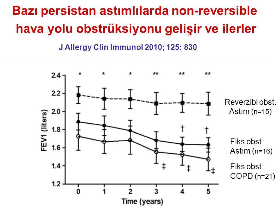 Reverzibl obst. Astım ( n=15 ) Fiks obst Astım ( n=16 ) Fiks obst. COPD ( n=21 ) Bazı persistan astımlılarda non-reversible hava yolu obstrüksiyonu ge