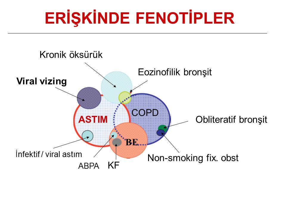 ERİŞKİNDE FENOTİPLER İnfektif / viral astım ABPA KF Viral vizing Kronik öksürük Eozinofilik bronşit Non-smoking fix.