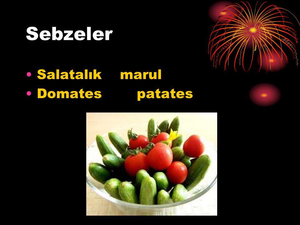 Sebzeler Salatalık marul Domates patates