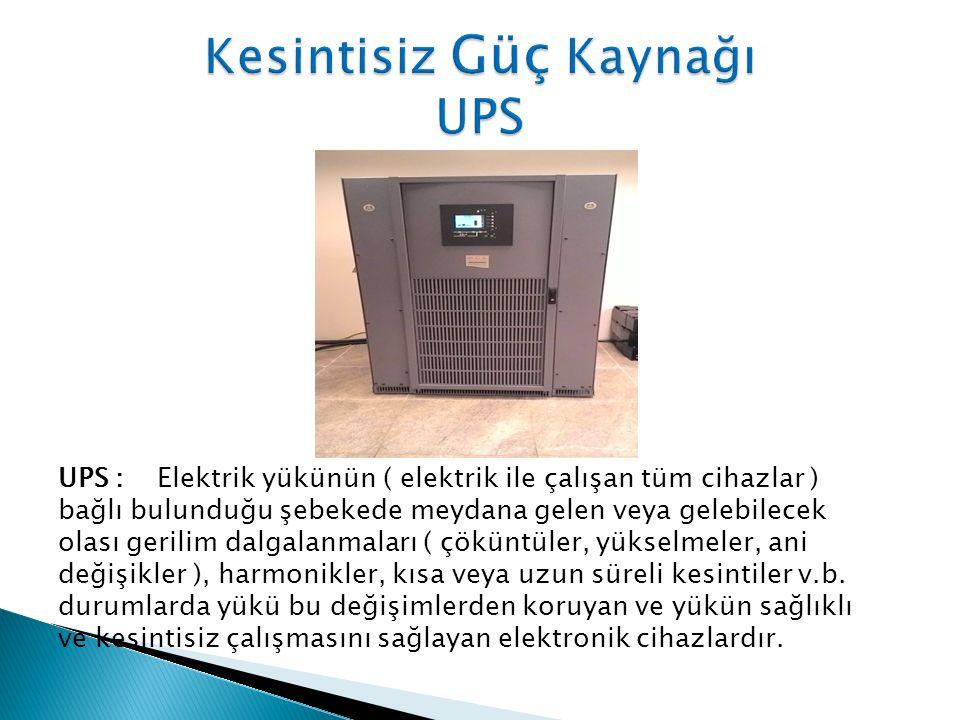 UPS : Elektrik yükünün ( elektrik ile çalışan tüm cihazlar ) bağlı bulunduğu şebekede meydana gelen veya gelebilecek olası gerilim dalgalanmaları ( çöküntüler, yükselmeler, ani değişikler ), harmonikler, kısa veya uzun süreli kesintiler v.b.