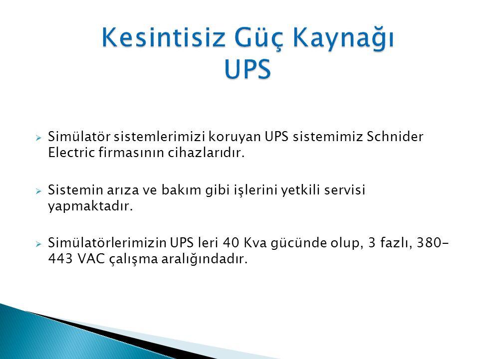  Simülatör sistemlerimizi koruyan UPS sistemimiz Schnider Electric firmasının cihazlarıdır.