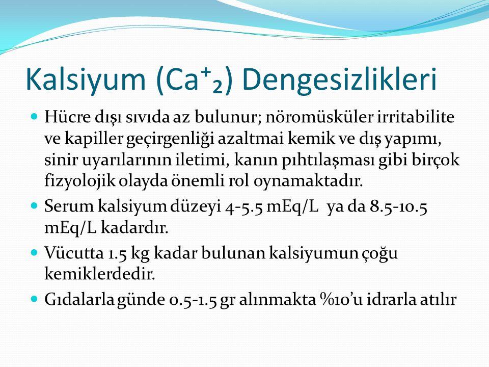 Kalsiyum (Ca⁺₂) Dengesizlikleri Hücre dışı sıvıda az bulunur; nöromüsküler irritabilite ve kapiller geçirgenliği azaltmai kemik ve dış yapımı, sinir u