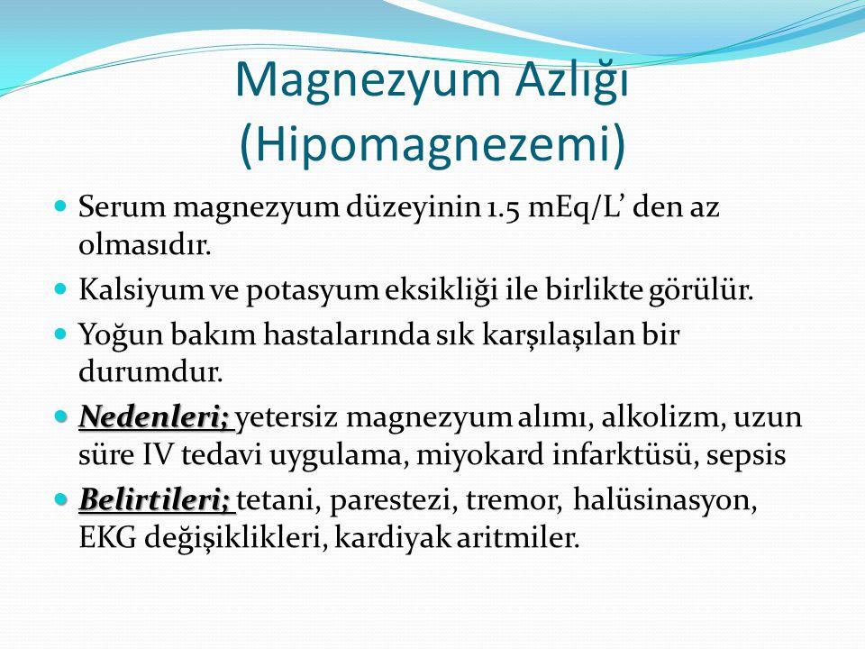 Magnezyum Azlığı (Hipomagnezemi) Serum magnezyum düzeyinin 1.5 mEq/L' den az olmasıdır. Kalsiyum ve potasyum eksikliği ile birlikte görülür. Yoğun bak