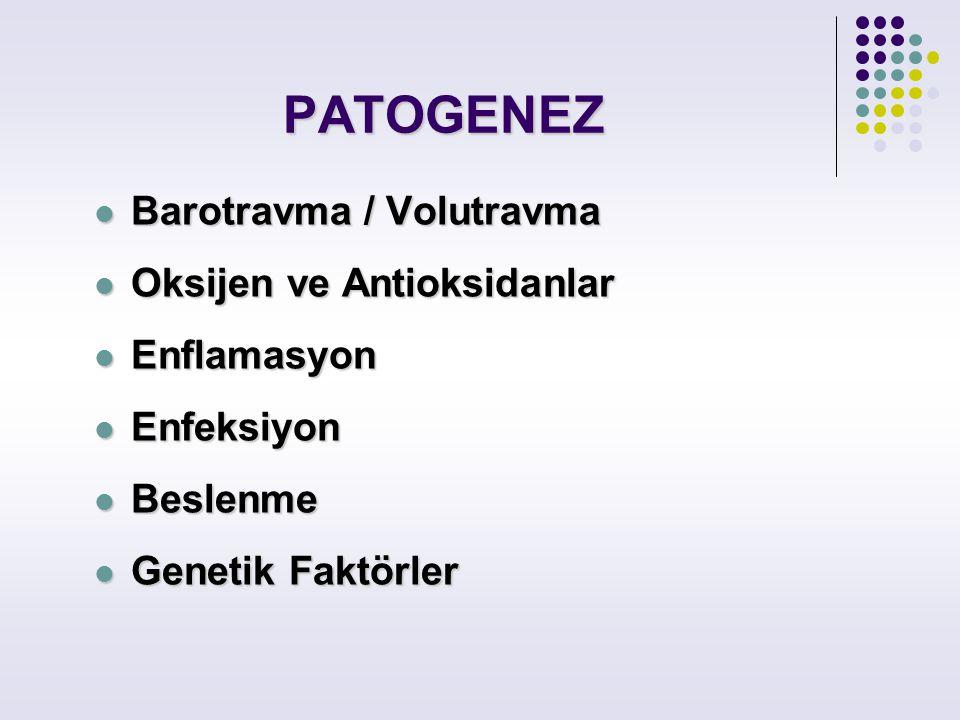 PATOGENEZ Barotravma / Volutravma Barotravma / Volutravma Oksijen ve Antioksidanlar Oksijen ve Antioksidanlar Enflamasyon Enflamasyon Enfeksiyon Enfek