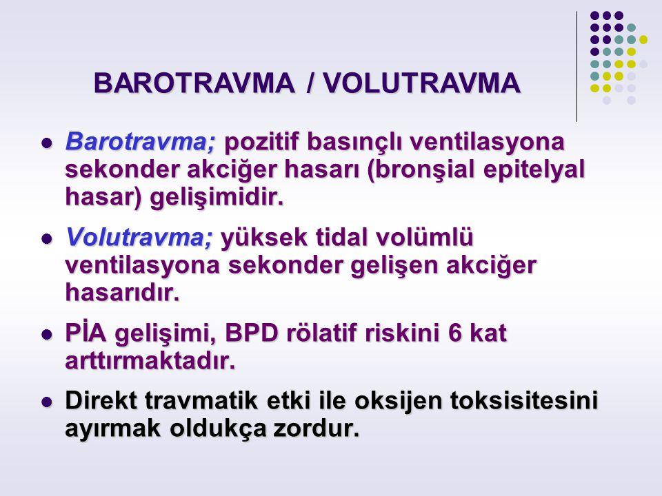 BAROTRAVMA / VOLUTRAVMA Barotravma; pozitif basınçlı ventilasyona sekonder akciğer hasarı (bronşial epitelyal hasar) gelişimidir. Barotravma; pozitif