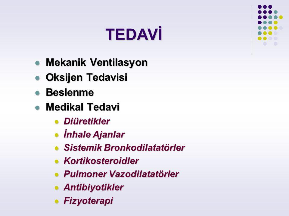 TEDAVİ Mekanik Ventilasyon Mekanik Ventilasyon Oksijen Tedavisi Oksijen Tedavisi Beslenme Beslenme Medikal Tedavi Medikal Tedavi Diüretikler Diüretikl