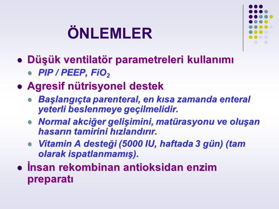 ÖNLEMLER Düşük ventilatör parametreleri kullanımı Düşük ventilatör parametreleri kullanımı PIP / PEEP, FiO 2 PIP / PEEP, FiO 2 Agresif nütrisyonel des