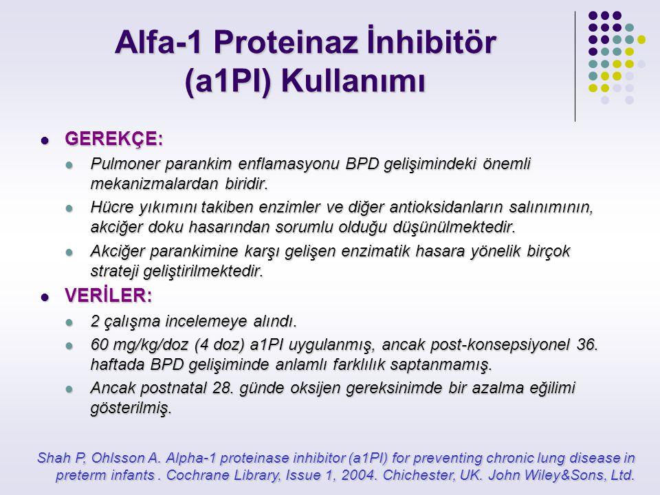 Alfa-1 Proteinaz İnhibitör (a1PI) Kullanımı GEREKÇE: GEREKÇE: Pulmoner parankim enflamasyonu BPD gelişimindeki önemli mekanizmalardan biridir. Pulmone
