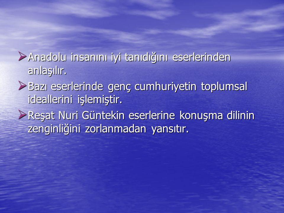  Anadolu insanını iyi tanıdığını eserlerinden anlaşılır.  Bazı eserlerinde genç cumhuriyetin toplumsal ideallerini işlemiştir.  Reşat Nuri Güntekin