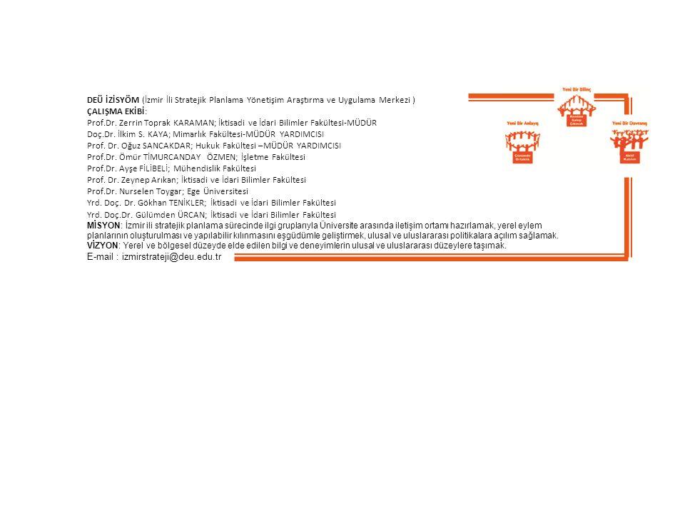 DEÜ İZİSYÖM (İzmir İli Stratejik Planlama Yönetişim Araştırma ve Uygulama Merkezi ) ÇALIŞMA EKİBİ: Prof.Dr. Zerrin Toprak KARAMAN; İktisadi ve İdari B
