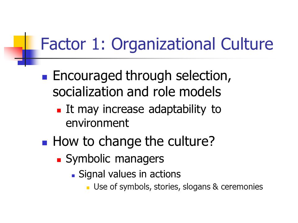Factor 1: Organizational Culture Encouraged through selection, socialization and role models It may increase adaptability to environment How to change the culture.