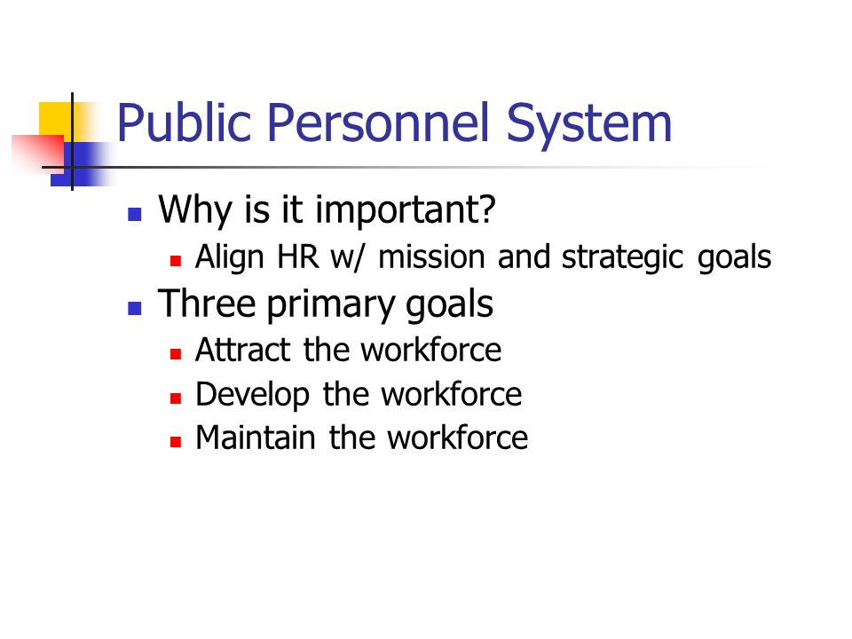 Goals of a Public Personnel System Merit recruiting Rule of three Permits the appointing official to choose among the top three individuals certified.