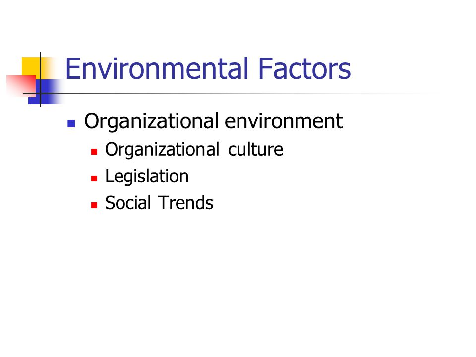Environmental Factors Organizational environment Organizational culture Legislation Social Trends
