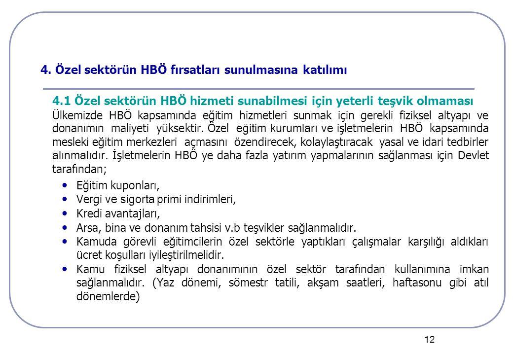 12 4. Özel sektörün HBÖ fırsatları sunulmasına katılımı 4.1 Özel sektörün HBÖ hizmeti sunabilmesi için yeterli teşvik olmaması Ülkemizde HBÖ kapsamınd