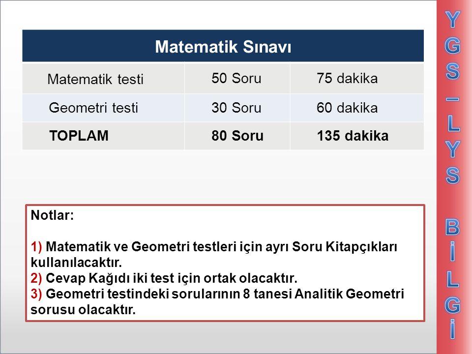 Matematik Sınavı Matematik testi 50 Soru75 dakika Geometri testi30 Soru60 dakika TOPLAM80 Soru135 dakika Notlar: 1) Matematik ve Geometri testleri içi