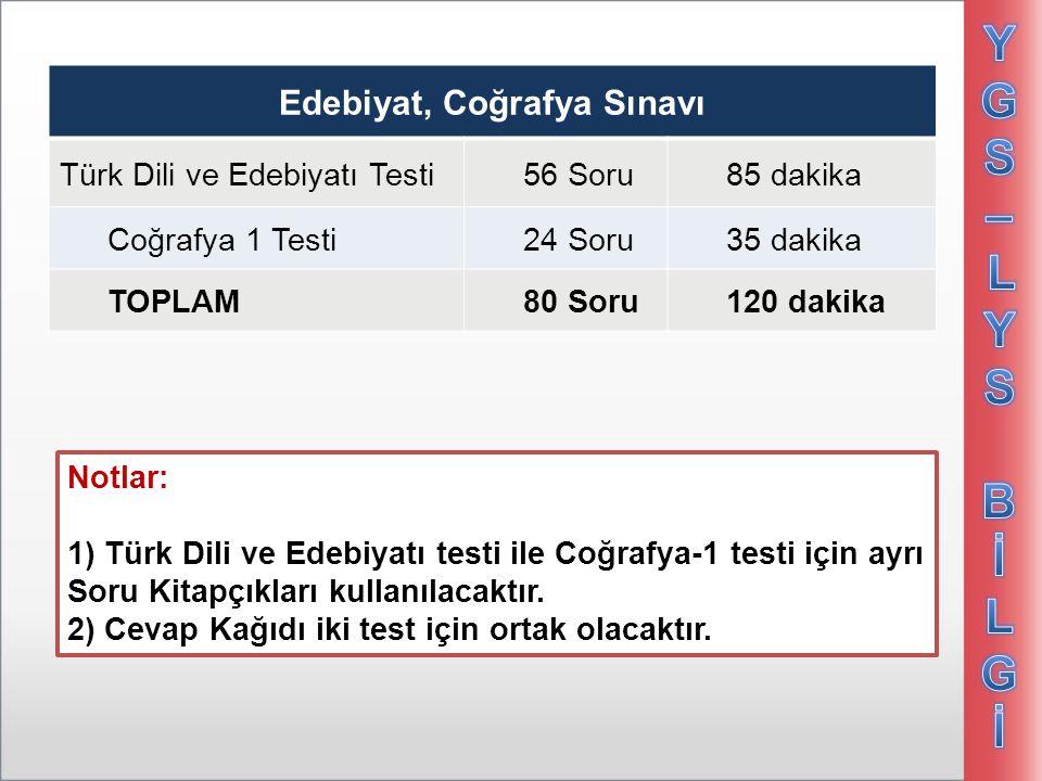 Edebiyat, Coğrafya Sınavı Türk Dili ve Edebiyatı Testi 56 Soru85 dakika Coğrafya 1 Testi24 Soru35 dakika TOPLAM80 Soru120 dakika Notlar: 1) Türk Dili