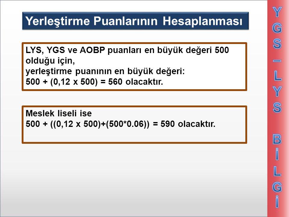 Yerleştirme Puanlarının Hesaplanması LYS, YGS ve AOBP puanları en büyük değeri 500 olduğu için, yerleştirme puanının en büyük değeri: 500 + (0,12 x 50
