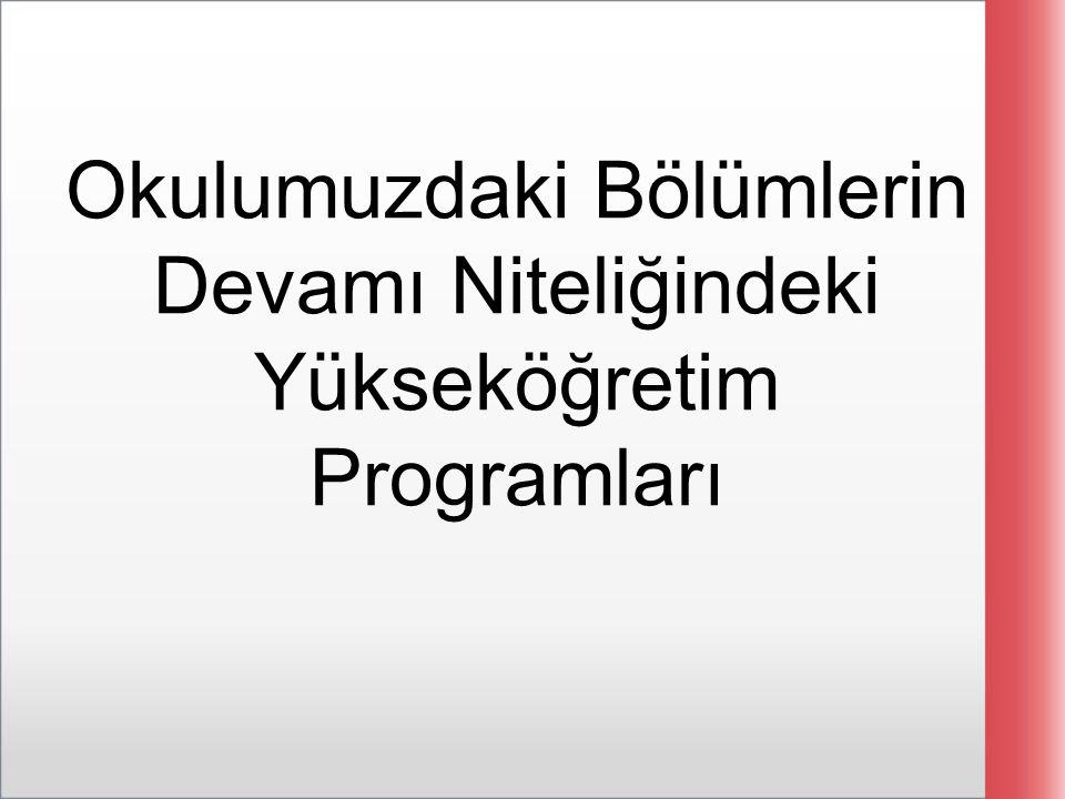 Okulumuzdaki Bölümlerin Devamı Niteliğindeki Yükseköğretim Programları