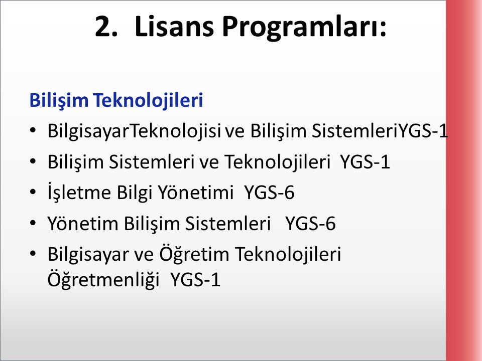 2. Lisans Programları: Bilişim Teknolojileri BilgisayarTeknolojisi ve Bilişim SistemleriYGS-1 Bilişim Sistemleri ve Teknolojileri YGS-1 İşletme Bilgi