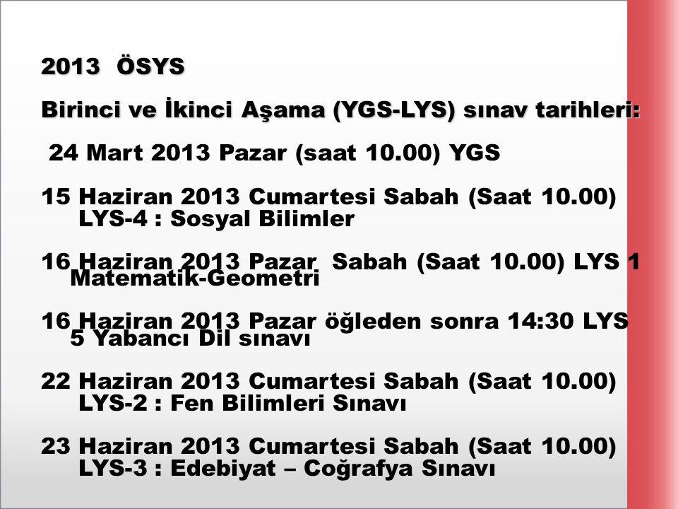 2013 ÖSYS Birinci ve İkinci Aşama (YGS-LYS) sınav tarihleri: 24 Mart 2013 Pazar (saat 10.00) YGS 15 Haziran 2013 Cumartesi Sabah (Saat 10.00) LYS-4 :