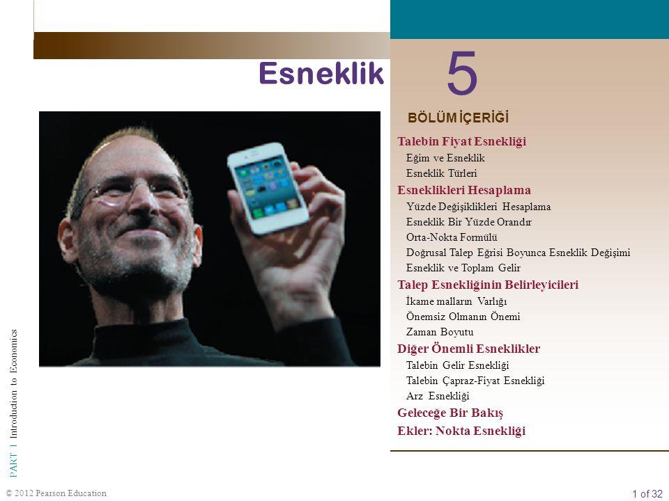 1 of 32 PART I Introduction to Economics © 2012 Pearson Education 5 Esneklik BÖLÜM İÇERİĞİ Talebin Fiyat Esnekliği Eğim ve Esneklik Esneklik Türleri E