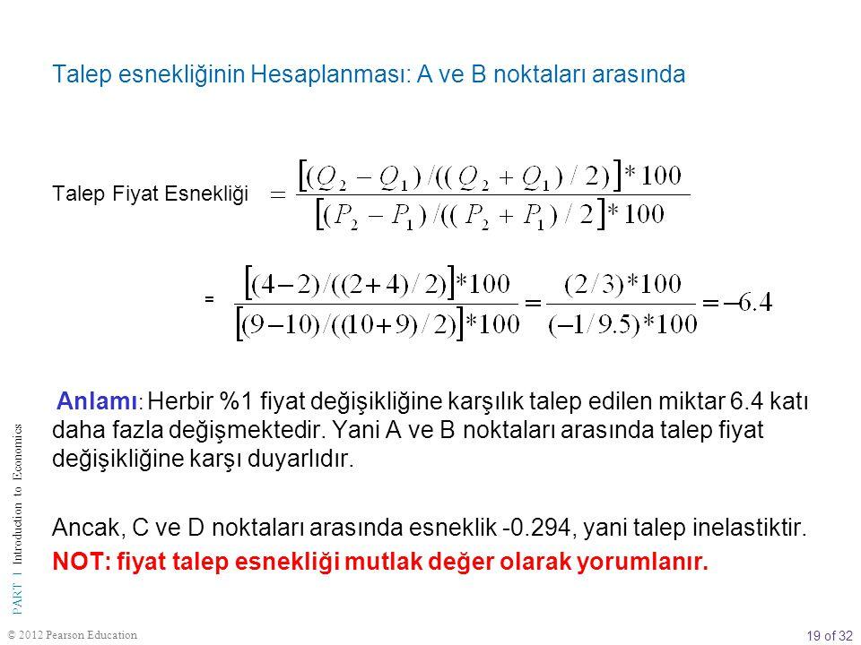 19 of 32 PART I Introduction to Economics © 2012 Pearson Education Talep esnekliğinin Hesaplanması: A ve B noktaları arasında Talep Fiyat Esnekliği =