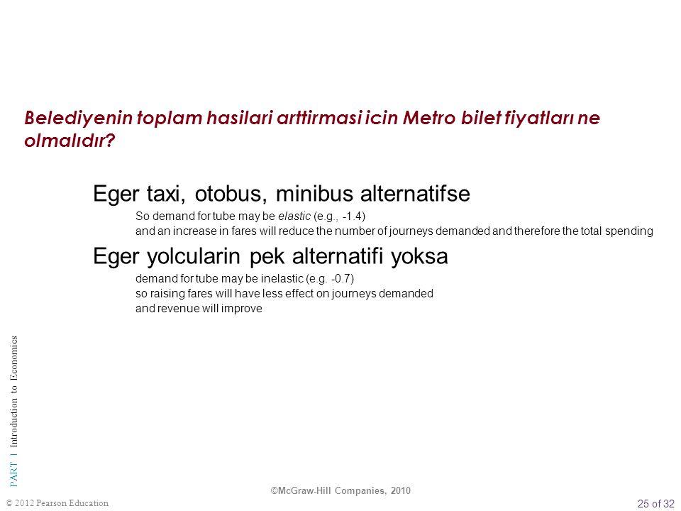 25 of 32 PART I Introduction to Economics © 2012 Pearson Education Eger taxi, otobus, minibus alternatifse So demand for tube may be elastic (e.g., -1
