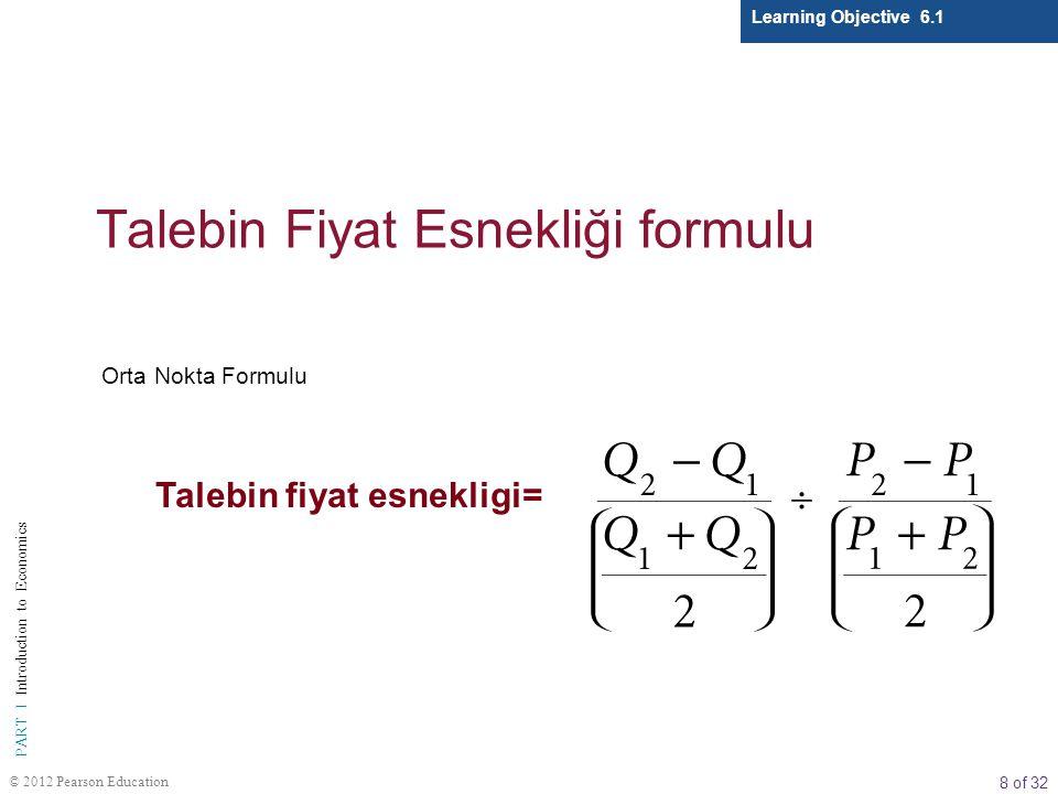 8 of 32 PART I Introduction to Economics © 2012 Pearson Education Talebin Fiyat Esnekliği formulu Learning Objective 6.1 Orta Nokta Formulu Talebin fi