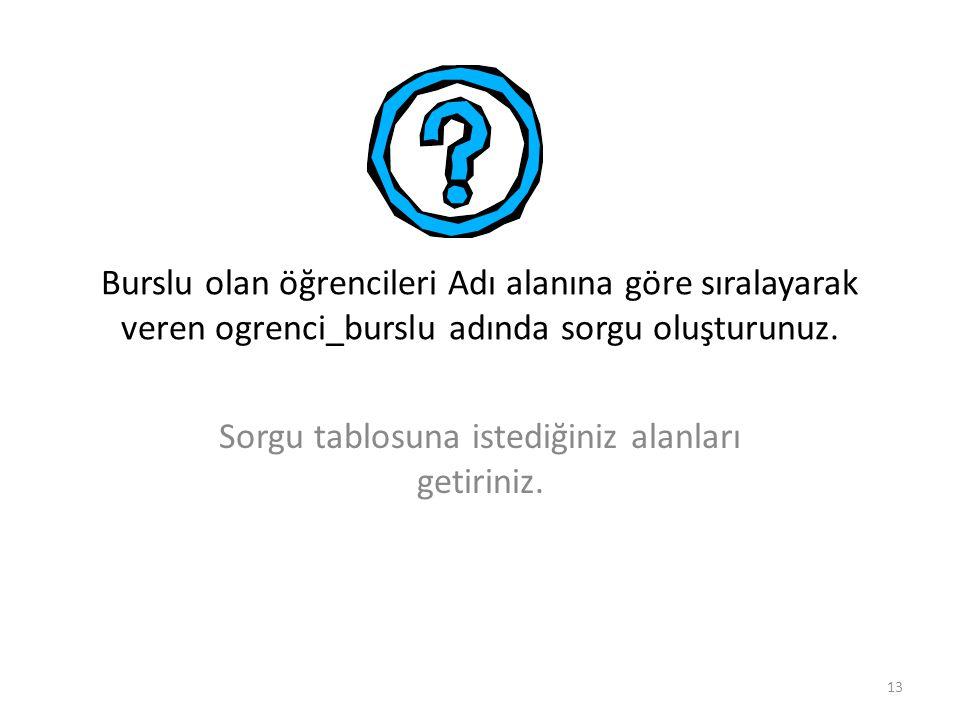 13 Burslu olan öğrencileri Adı alanına göre sıralayarak veren ogrenci_burslu adında sorgu oluşturunuz.