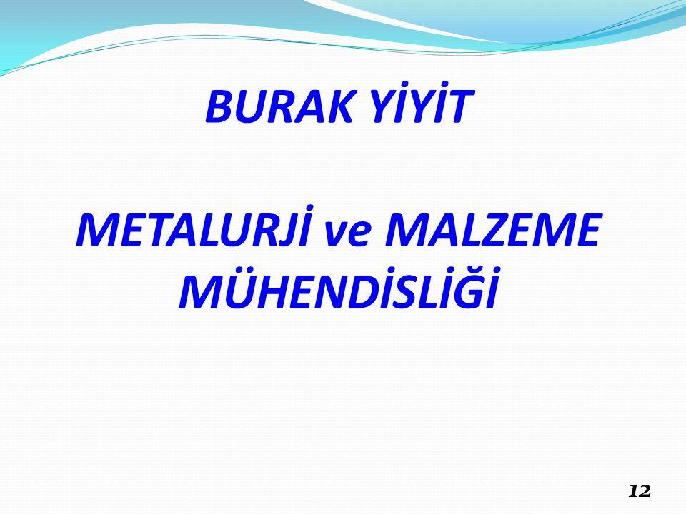 BURAK YİYİT METALURJİ ve MALZEME MÜHENDİSLİĞİ 12