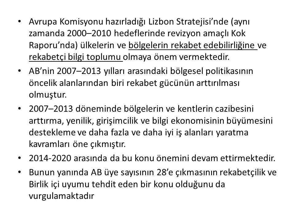 Avrupa Komisyonu hazırladığı Lizbon Stratejisi'nde (aynı zamanda 2000–2010 hedeflerinde revizyon amaçlı Kok Raporu'nda) ülkelerin ve bölgelerin rekabe