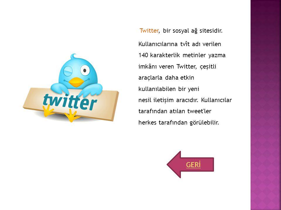Twitter, bir sosyal ağ sitesidir. Kullanıcılarına tvît adı verilen 140 karakterlik metinler yazma imkânı veren Twitter, çeşitli araçlarla daha etkin k