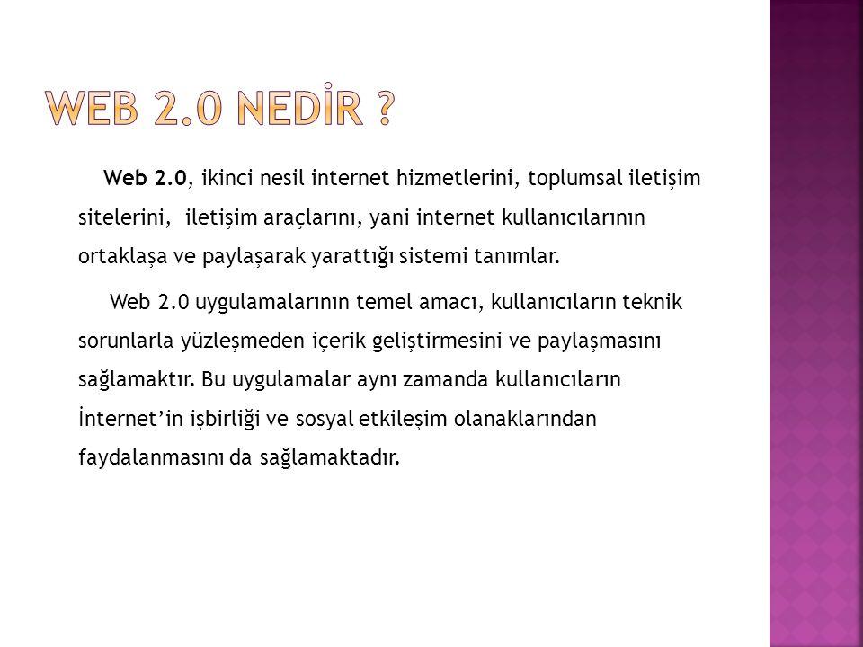 Web 2.0, ikinci nesil internet hizmetlerini, toplumsal iletişim sitelerini, iletişim araçlarını, yani internet kullanıcılarının ortaklaşa ve paylaşara