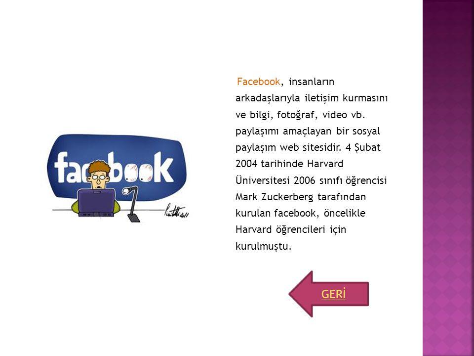 Facebook, insanların arkadaşlarıyla iletişim kurmasını ve bilgi, fotoğraf, video vb. paylaşımı amaçlayan bir sosyal paylaşım web sitesidir. 4 Şubat 20