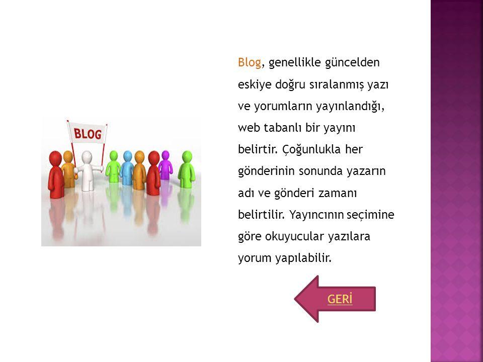 Blog, genellikle güncelden eskiye doğru sıralanmış yazı ve yorumların yayınlandığı, web tabanlı bir yayını belirtir. Çoğunlukla her gönderinin sonunda