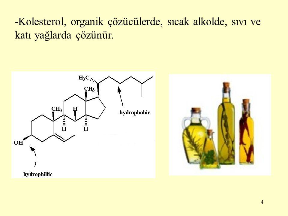 4 -Kolesterol, organik çözücülerde, sıcak alkolde, sıvı ve katı yağlarda çözünür.