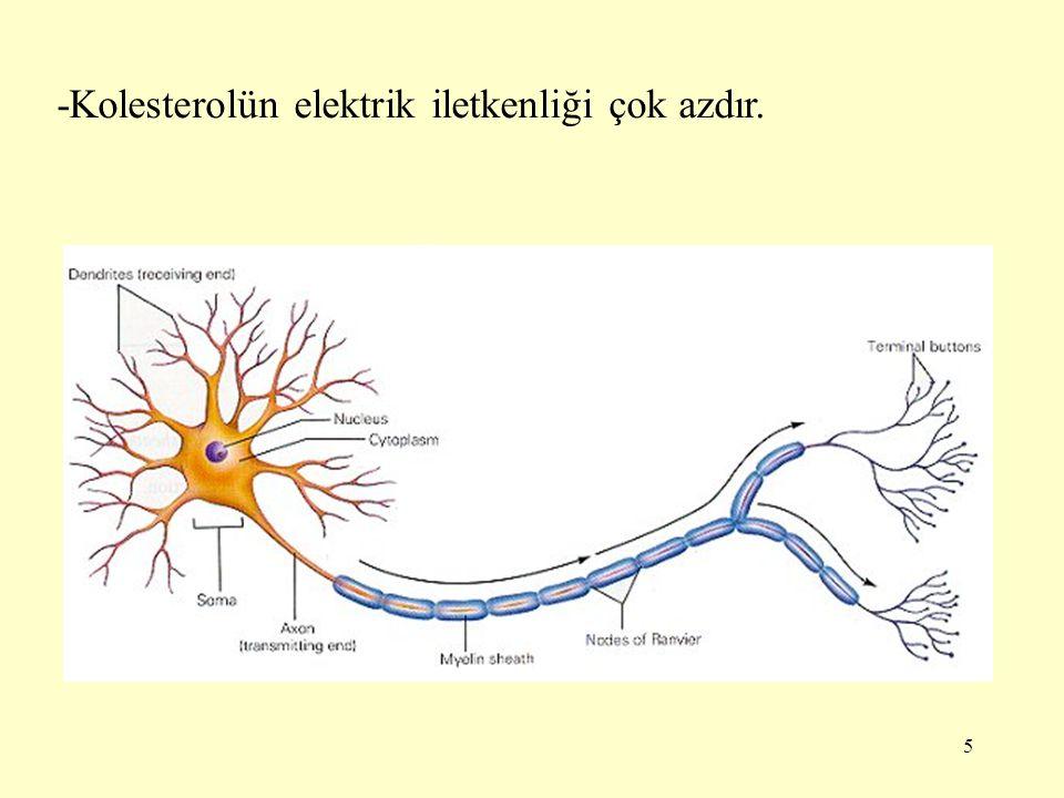 5 -Kolesterolün elektrik iletkenliği çok azdır.
