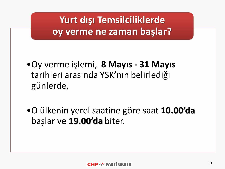10 Oy verme işlemi, 8 Mayıs - 31 Mayıs tarihleri arasında YSK'nın belirlediği günlerde,.00'da 19.00'daO ülkenin yerel saatine göre saat 10.00'da başlar ve 19.00'da biter.