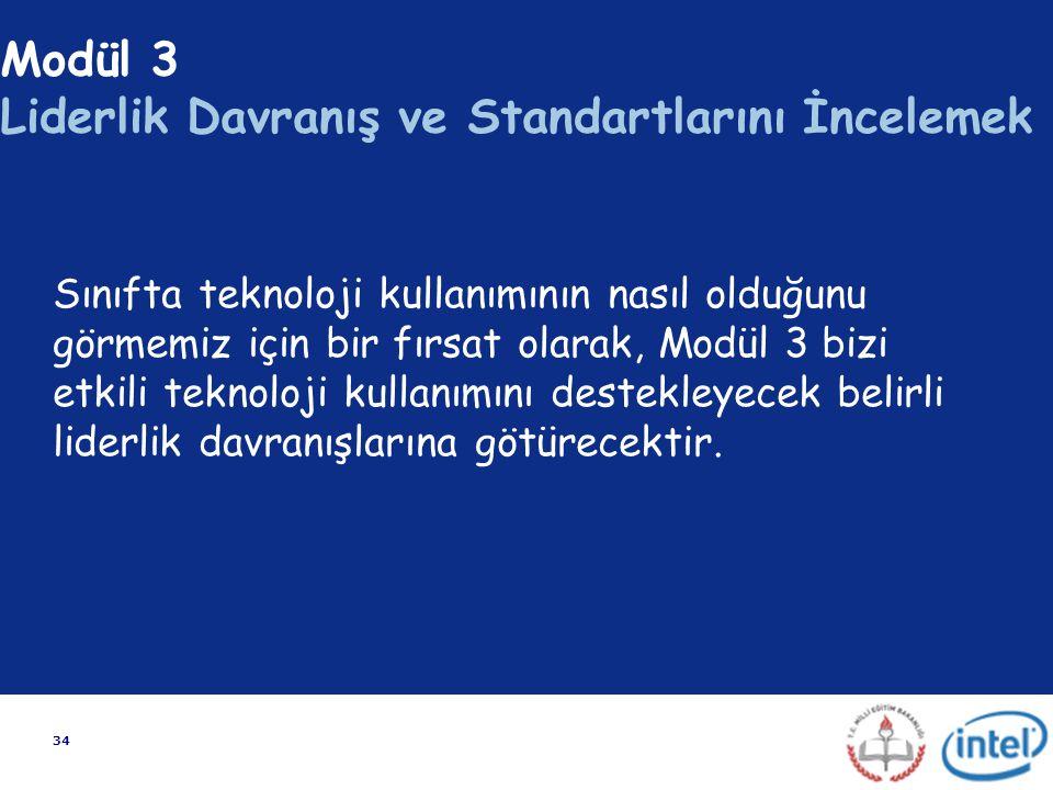 34 Modül 3 Liderlik Davranış ve Standartlarını İncelemek Sınıfta teknoloji kullanımının nasıl olduğunu görmemiz için bir fırsat olarak, Modül 3 bizi e