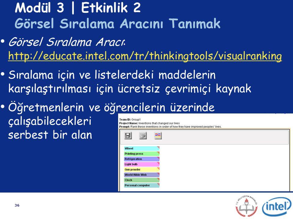 36 Modül 3 | Etkinlik 2 Görsel Sıralama Aracını Tanımak Görsel Sıralama Aracı: http://educate.intel.com/tr/thinkingtools/visualranking http://educate.