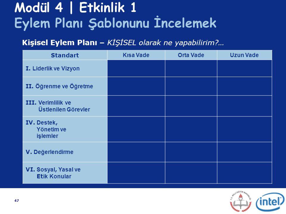 47 Modül 4 | Etkinlik 1 Eylem Planı Şablonunu İncelemek Standart Kısa VadeOrta VadeUzun Vade I. Liderlik ve Vizyon II. Öğrenme ve Öğretme III. Verimli