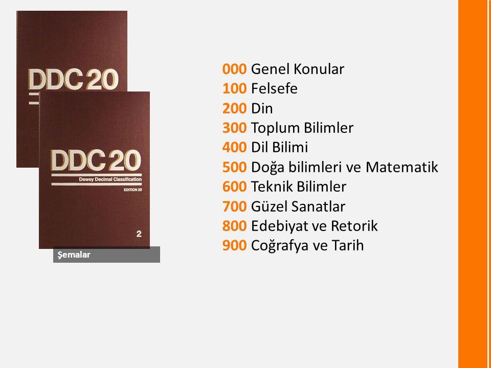 000 Genel Konular 100 Felsefe 200 Din 300 Toplum Bilimler 400 Dil Bilimi 500 Doğa bilimleri ve Matematik 600 Teknik Bilimler 700 Güzel Sanatlar 800 Edebiyat ve Retorik 900 Coğrafya ve Tarih Şemalar 4