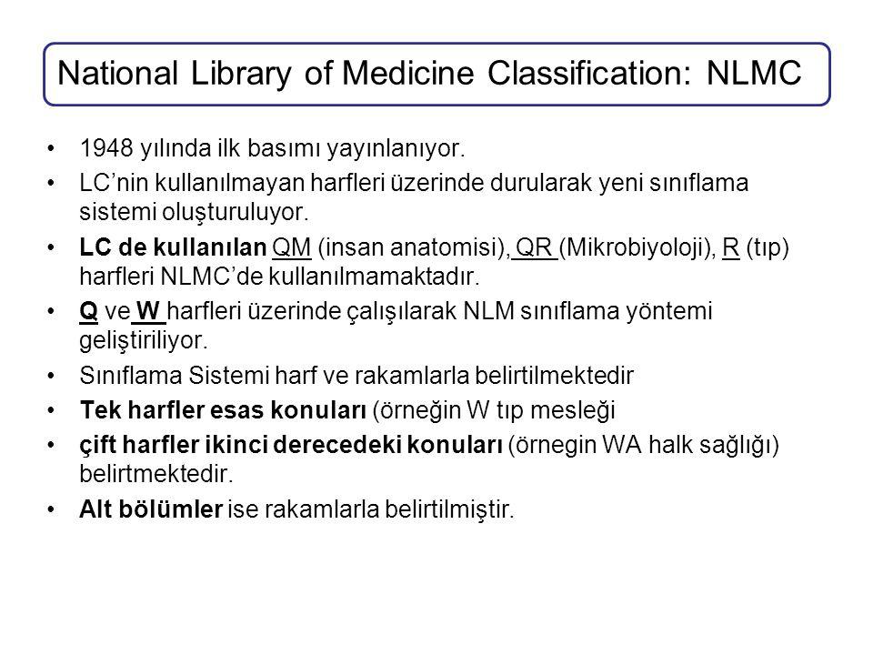 National Library of Medicine Classification: NLMC 1948 yılında ilk basımı yayınlanıyor. LC'nin kullanılmayan harfleri üzerinde durularak yeni sınıflam