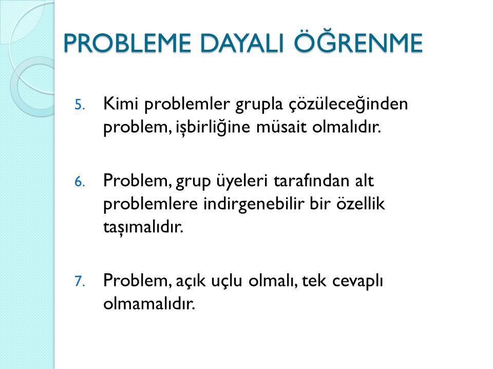 5. Kimi problemler grupla çözülece ğ inden problem, işbirli ğ ine müsait olmalıdır. 6. Problem, grup üyeleri tarafından alt problemlere indirgenebilir