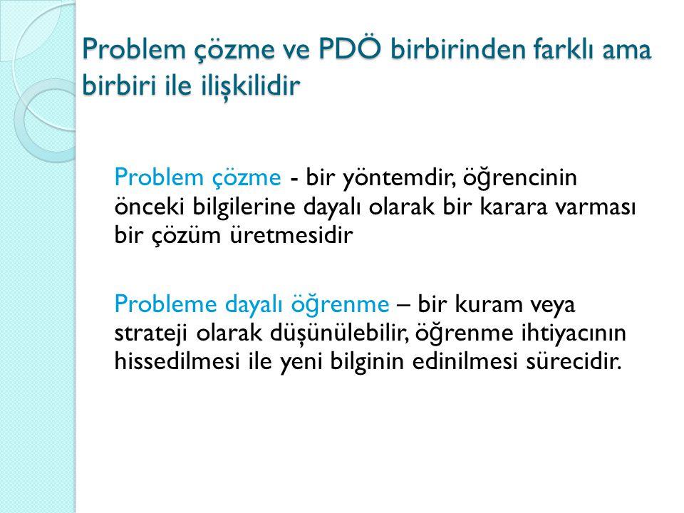 Problem çözme ve PDÖ birbirinden farklı ama birbiri ile ilişkilidir Problem çözme - bir yöntemdir, ö ğ rencinin önceki bilgilerine dayalı olarak bir k