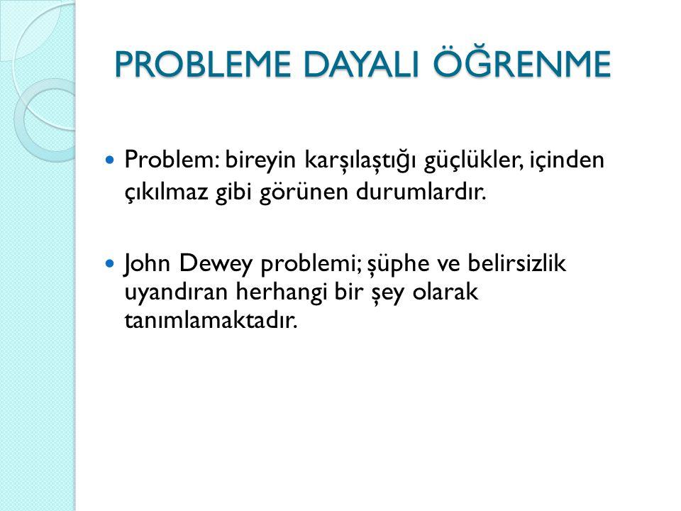 PROBLEME DAYALI Ö Ğ RENME Problem: bireyin karşılaştı ğ ı güçlükler, içinden çıkılmaz gibi görünen durumlardır. John Dewey problemi; şüphe ve belirsiz