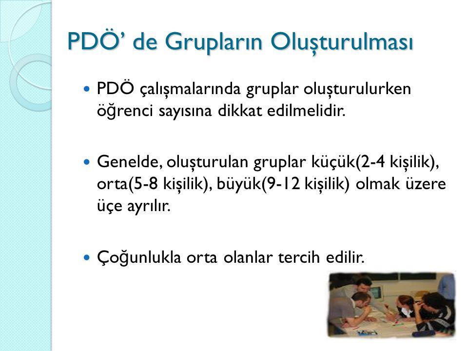 PDÖ çalışmalarında gruplar oluşturulurken ö ğ renci sayısına dikkat edilmelidir. Genelde, oluşturulan gruplar küçük(2-4 kişilik), orta(5-8 kişilik), b